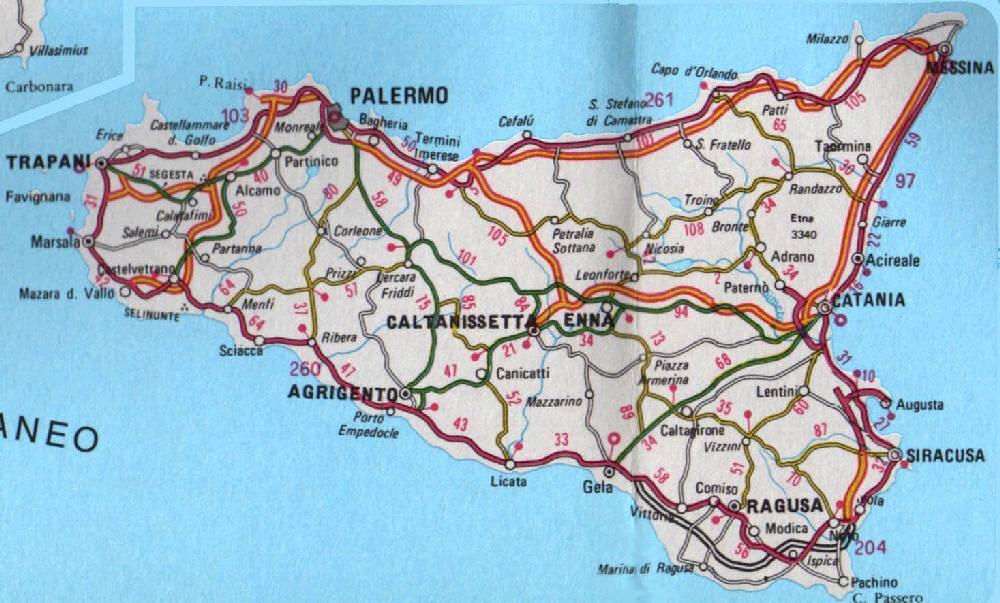 Cartina Della Sicilia Dettagliata.Mappa Della Sicilia Cartina Della Sicilia