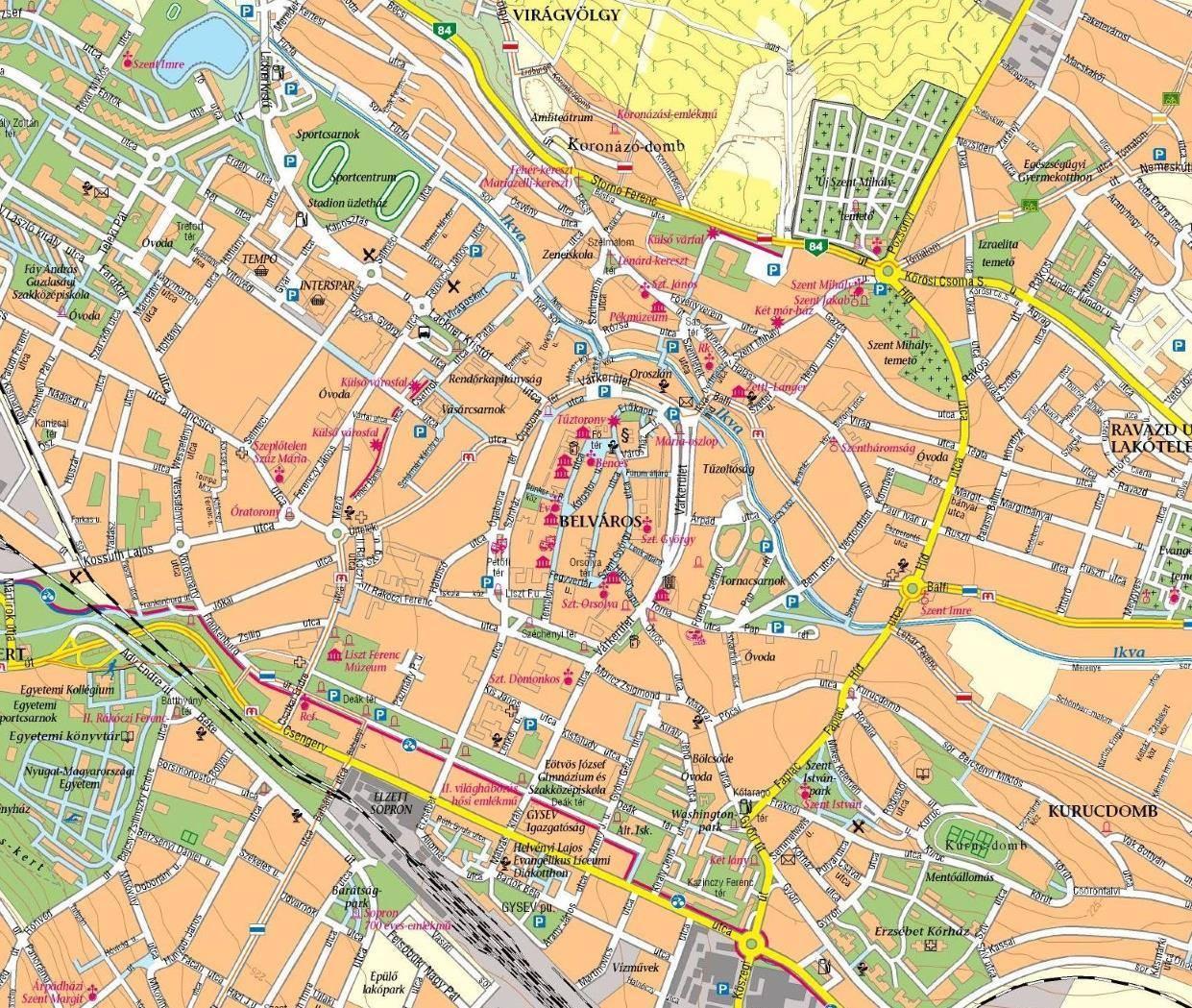 Karte Von Sopron Stadtplan Sopron