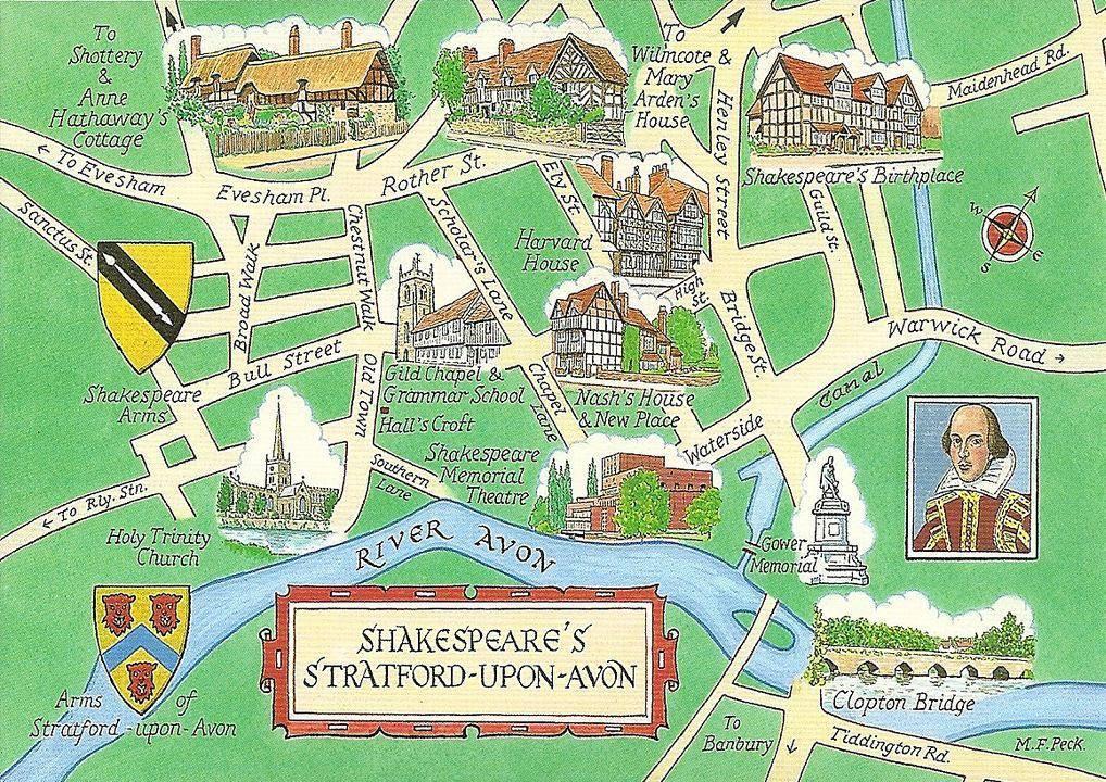 Map of StratforduponAvon