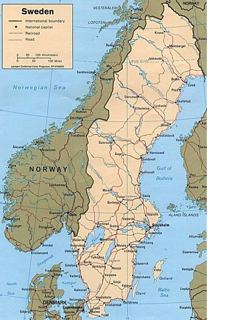Cartina Della Svezia.Mappa Della Svezia Cartina Della Svezia
