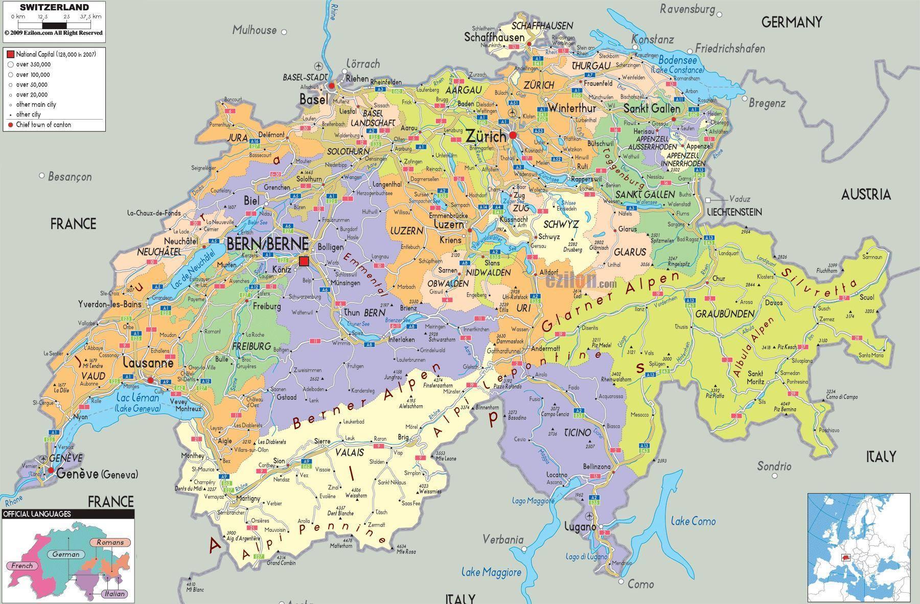 Confine Svizzera Italia Cartina.Mappa Della Svizzera Cartina Della Svizzera