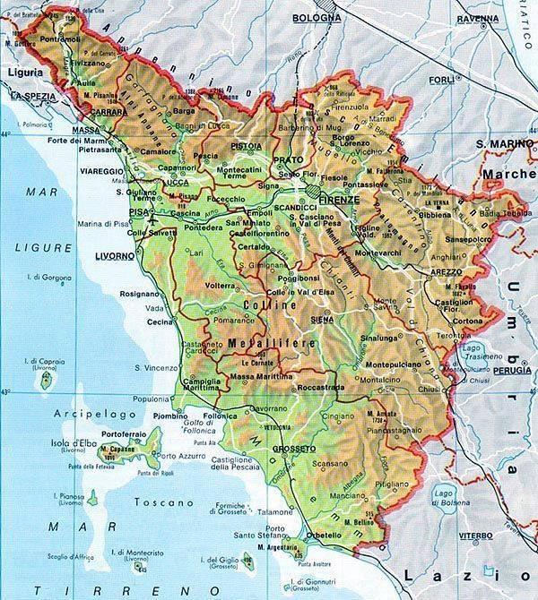 Cartina Toscana Dettagliata.Mappa Della Toscana Cartina Della Toscana