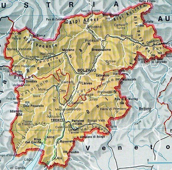 Bolzano Cartina.Mappa Del Trentino Alto Adige Cartina Del Trentino Alto Adige