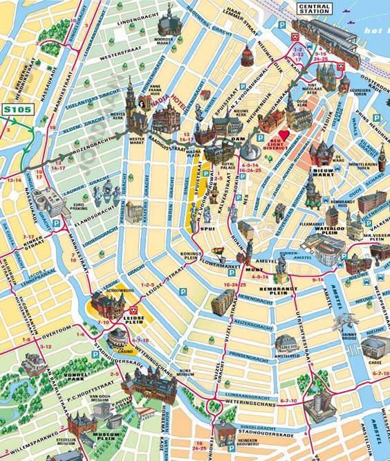 Mappa turistica di amsterdam cartina turistica di amsterdam for Centro di amsterdam