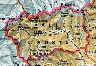 Carte Val Daoste Italie.Carte Valle D Aoste Plan Valle D Aoste