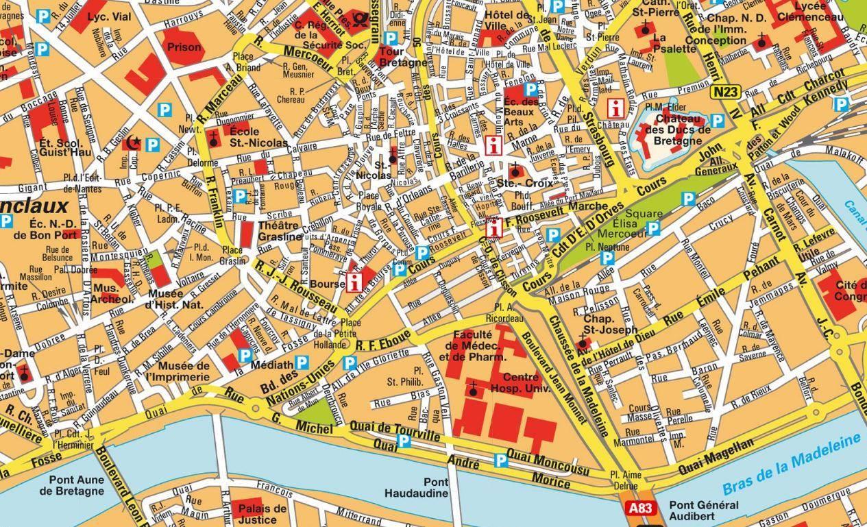 Nantes Karte.Karte Von Nantes Stadtplan Nantes