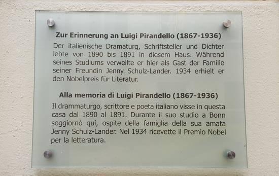 Targa su Pirandello a Bonn